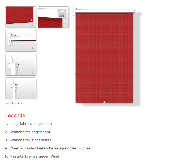 Fenster Bad Zurzach : Seitenmarkise 75 « Offene Markisen « SonnenMarkisen « Sonnenstoren